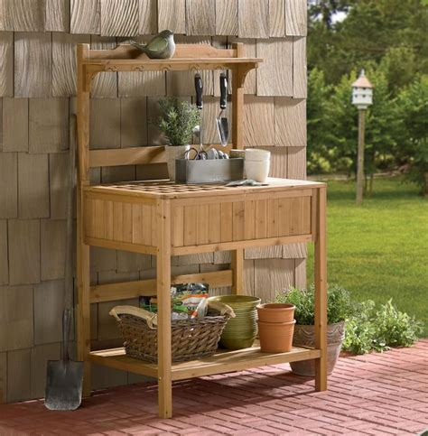 merry garden potting bench merry products wood potting bench with recessed storage