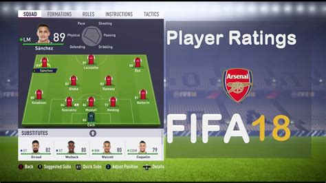 arsenal fifa 18 fifa 18 arsenal player ratings youtube