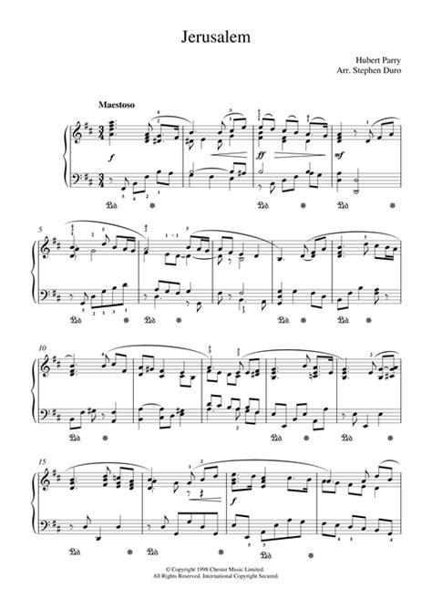 printable jerusalem lyrics jerusalem sheet music by hubert parry piano 18810