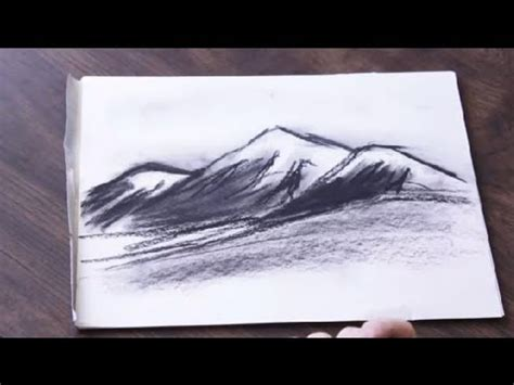 Cool Things To Draw With Charcoal by How To Draw A Charcoal Mountain Range Drawing