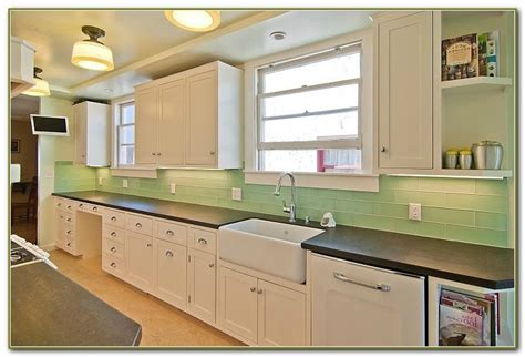 green tile kitchen backsplash green subway tile backsplash kitchen tiles home