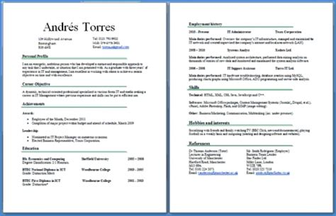 Resume Two Pages by Sle 2 Page Resume Best Professional Resumes Letters