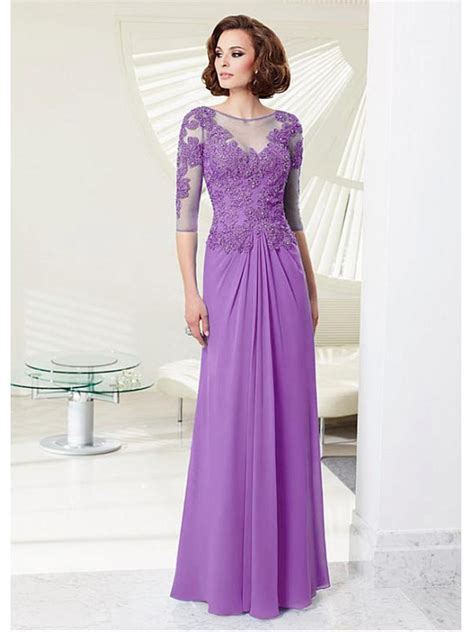 affordable mother of the bride dresses jjshouse affordable illusion neckline lace chiffon mother of the bride dresses 99503041