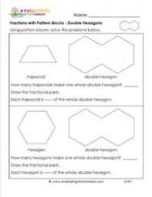 double pattern worksheet fractions with pattern blocks double hexagons third