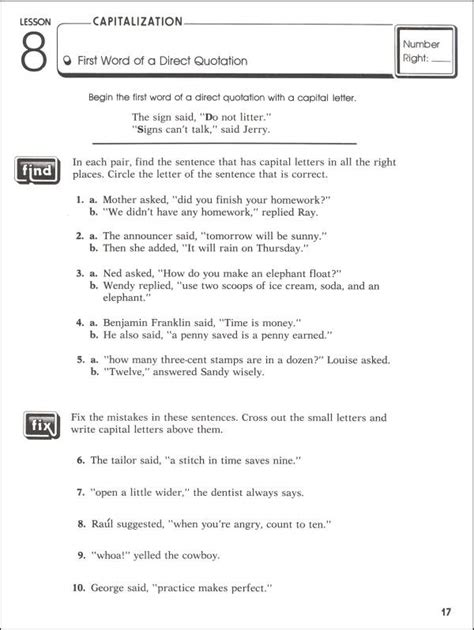 punctuation worksheets grade 4 with answers practicing capitalization punctuation grade 5 044812 details rainbow resource center inc