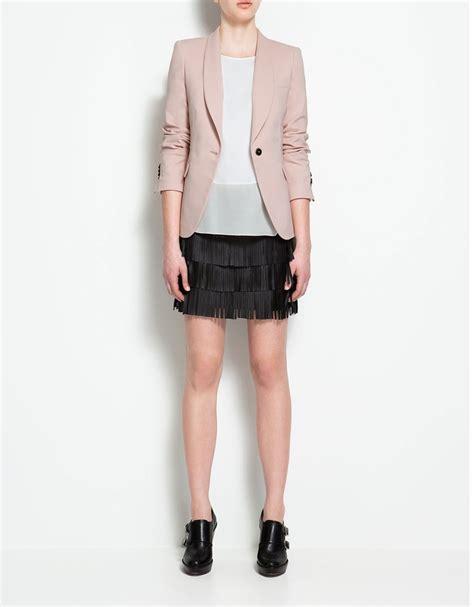 blackpink zara zara rose blazer black skirt white shirt howtowear