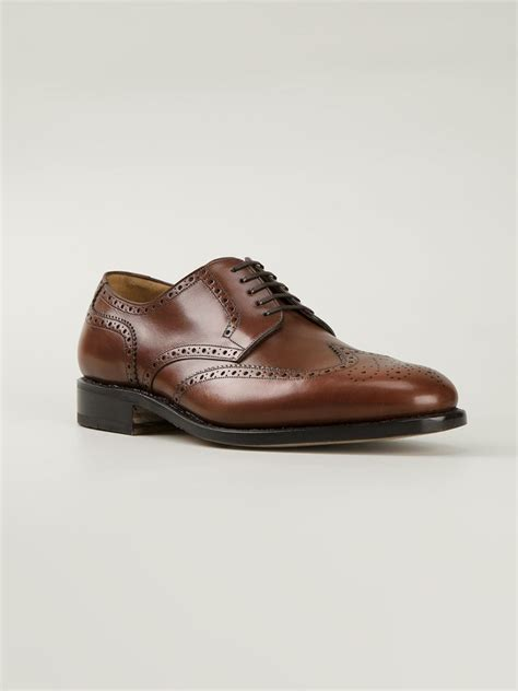 ferragamo oxford shoes ferragamo brogue detailed oxford shoes in brown for lyst