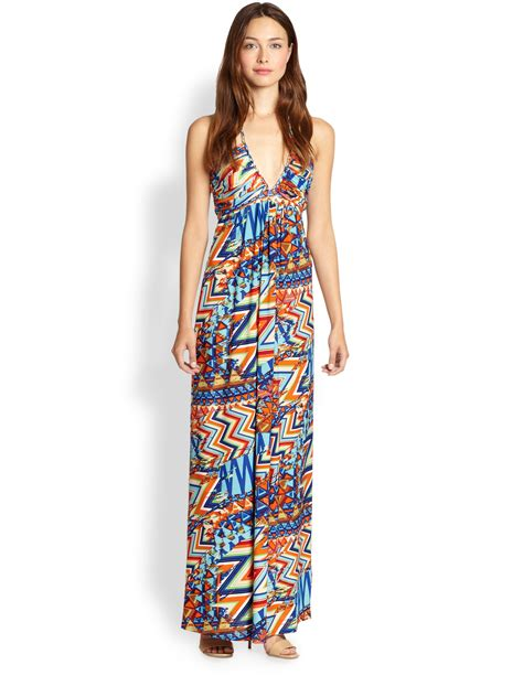 Top Five Print Maxi Dresses by T Bags Timeless Printed Stretch Jersey Halter Maxi Dress
