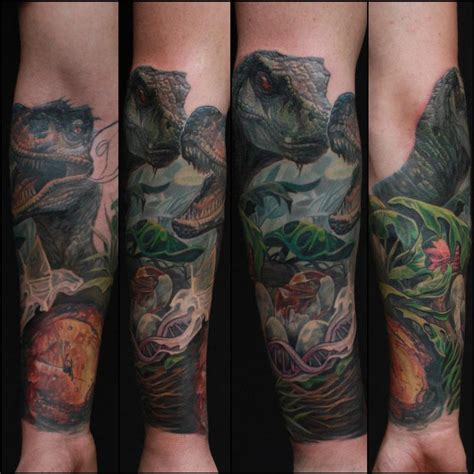 jurassic park sleeve in progress by dennis wehler tattoonow