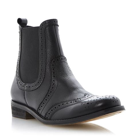 dune chelsea boots new dune pansies womens black leather brogue