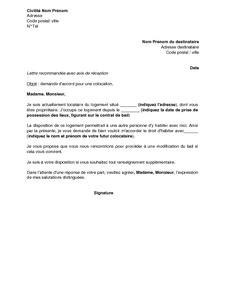 Modification Demande De Logement Social by Exemple Gratuit De Lettre Demande Accord Colocation Sein