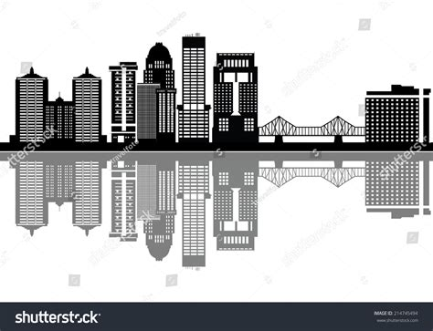 Louisville Ky Skyline Outline by Louisville Skyline With Buildings In Black And White Stock Vector Illustration 214745494