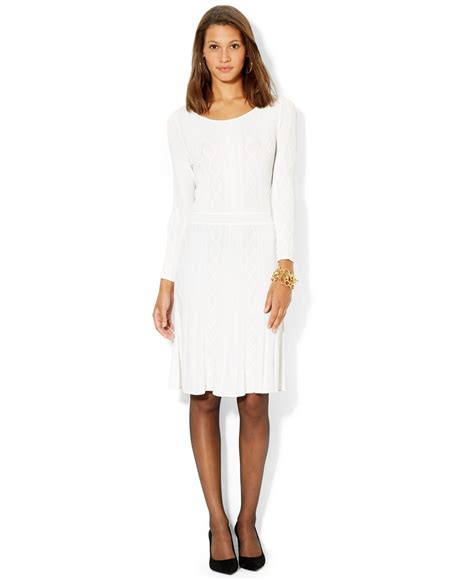 white cable knit sweater dress lyst by ralph sleeve cable knit