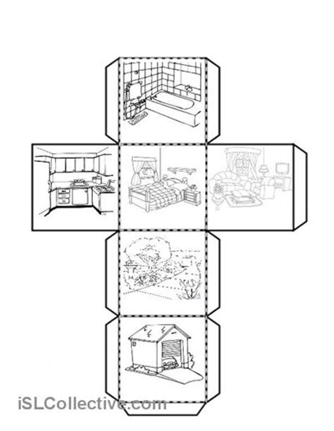 printable house pdf cube with the parts of the house worksheet free esl