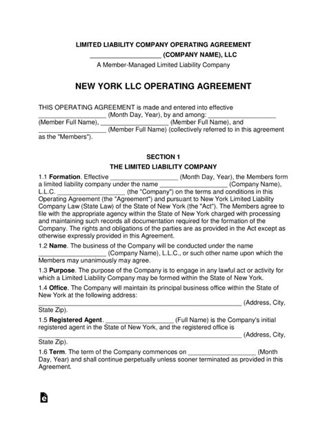 New York Multi Member Llc Operating Agreement Form Eforms Free Fillable Forms Ny Llc Operating Agreement Template