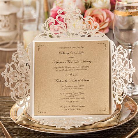 wedding invitations supplies 50pcs wishmade laser cut lace flower wedding
