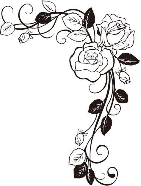 rose coloring pages border материал для декораций угол розы образец изображения