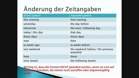 wandlen länglich reported speech indirekte rede im englischen englisch