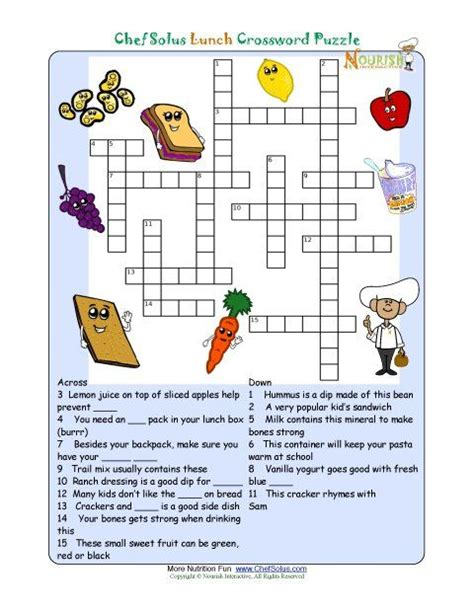 printable nutrition crossword puzzle lunch foods