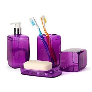 purple bathroom accessory set soap dispenser