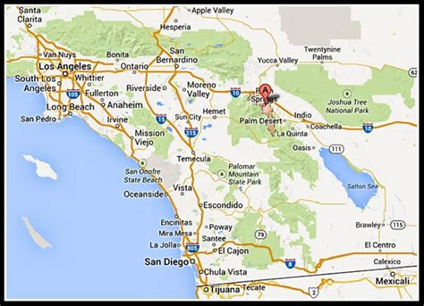 palm springs on california map palm springs map map