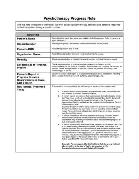 psychiatry note template sle psychotherapy progress notes template clinical