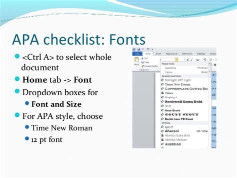 apa format font style apa basics