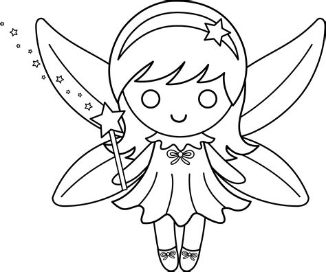 cute colorable fairy design free clip art