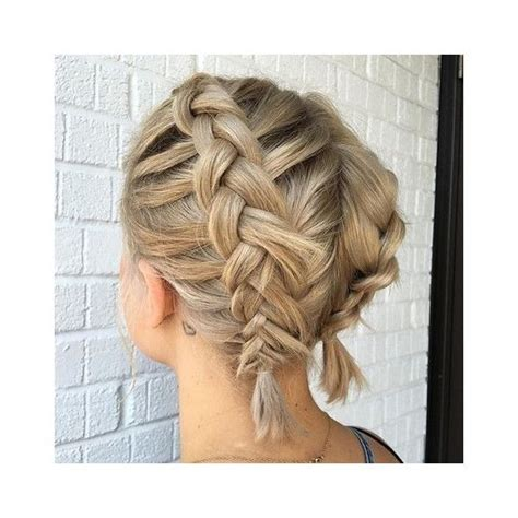 blonde hairstyles polyvore french braid short hair liked on polyvore featuring
