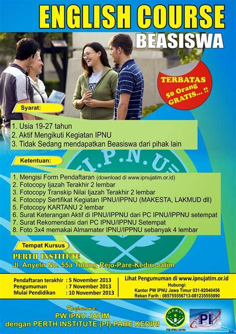 tutorial kursus bahasa inggris info ipnu jatim berikan beasiswa kursus bahasa inggris