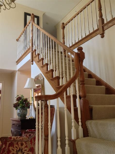 Painting Banister Spindles by Oak Railing After Painting Spindles