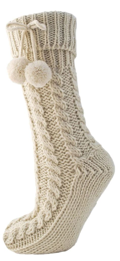 cable knit slipper socks non skid chunky fur lined cable knit slipper