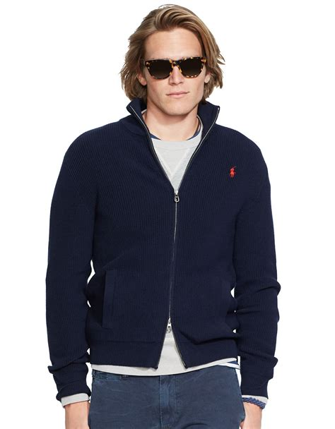 New Jaket Sweater Polos Hoodie Zipper Orange Oren polo ralph zip cotton sweater in blue for lyst