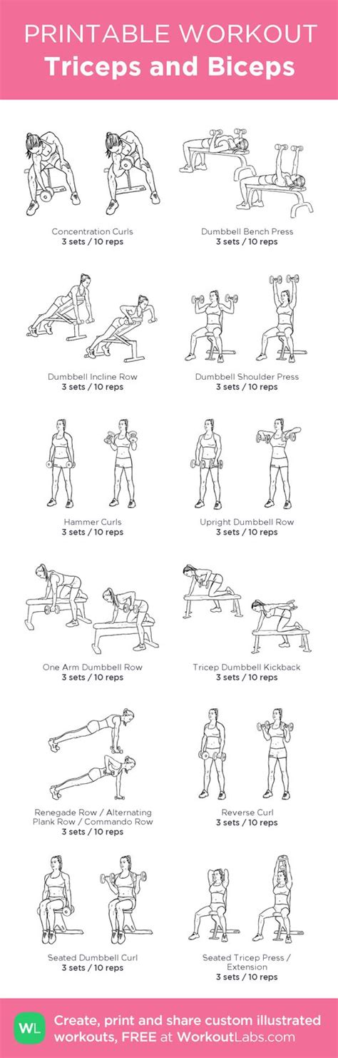 triceps and biceps my custom printable workout by