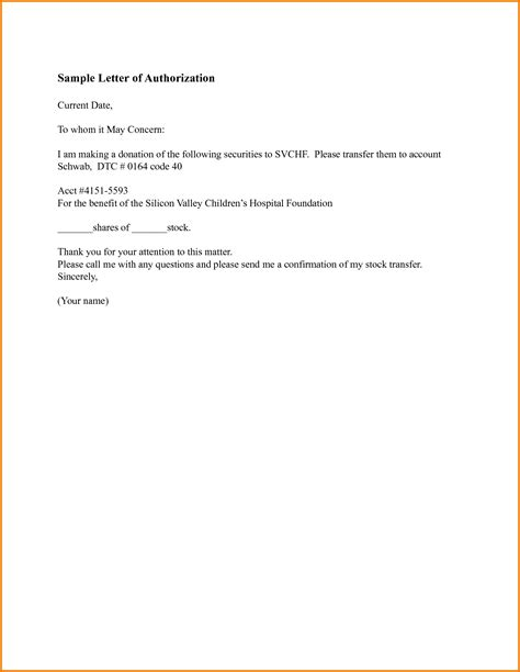 authorization letter format for sle of authorization letter authorization letter pdf
