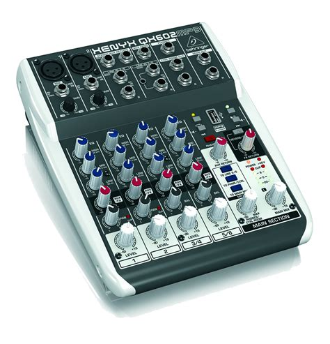 Mixer Behringer Mini behringer xenyx qx602mp3 6 input 2 compact mixer with onboard mp3 player and effects