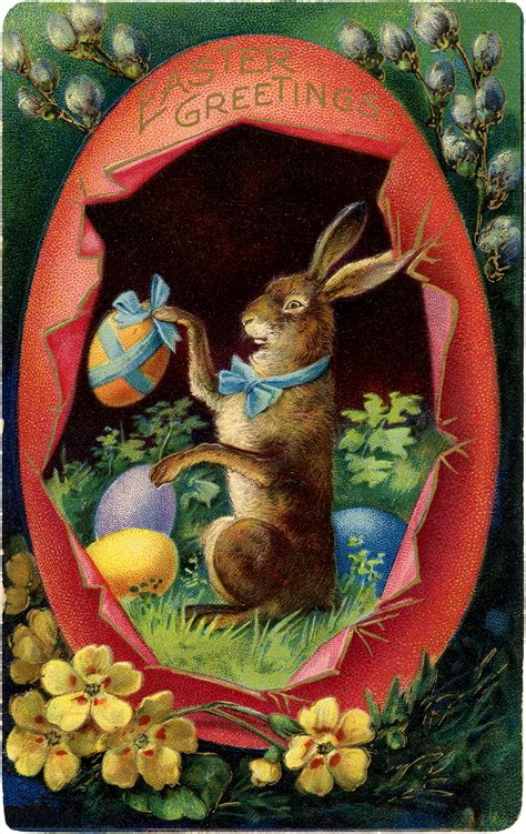 victorian easter bunny  egg image  graphics fairy