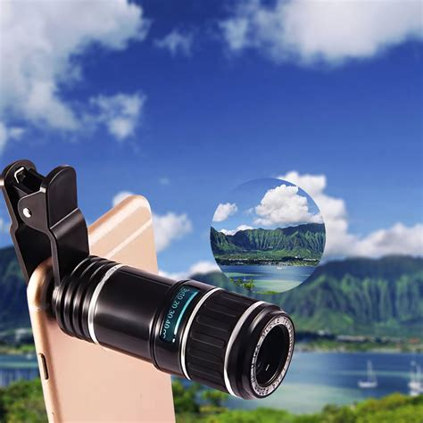 universal 8x 12x zoom telescope clip on lens for smartphone tablets sale banggood