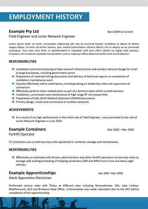 Resume Template Electrician Australia 100 Original Cv Templates For Australia