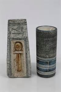Troika Vase by Troika Coffin Vase With Abstract Decoration And One Other Troika Cylindrical Vase Both With