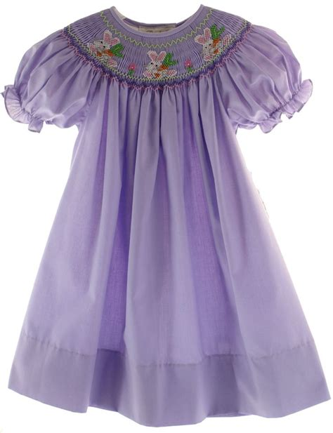 pattern matching bishop designer smocked girld dresses girls purple smocked