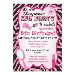sparkle sleepover spa birthday invitations zazzle
