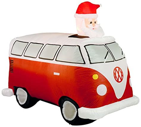 vw snowman inflatable vw cer van with santa in red inflatable