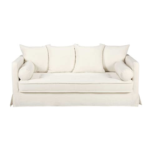 white linen sofa uk white 3 4 seater washed linen sofa matangi maisons du monde