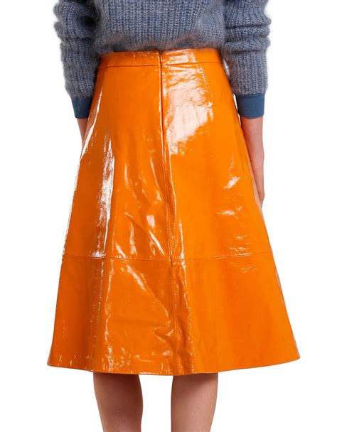 2nd day patent leather a line skirt in orange lyst