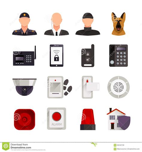 home security icons stock vector image 66242130