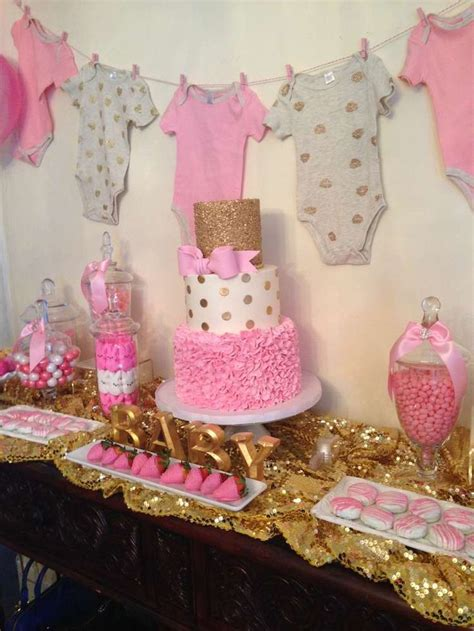 Ideas For Baby Shower by Pink And Gold Baby Shower Ideas