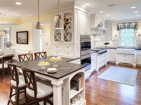 white cottage kitchen with peninsula island hgtv