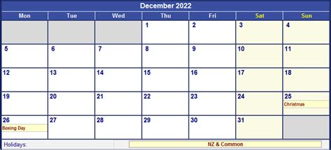 printable calendar 2014 new zealand december 2022 new zealand calendar with holidays for