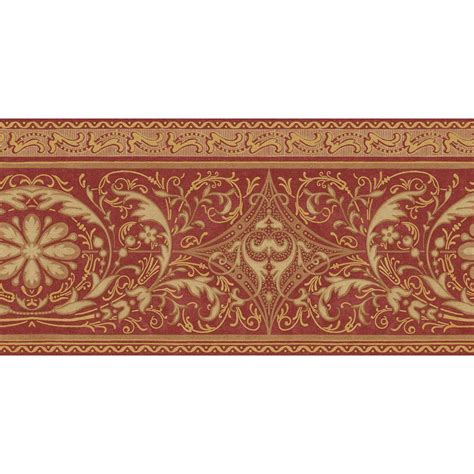 gold wallpaper border the wallpaper company 10 25 in x 15 ft red and gold